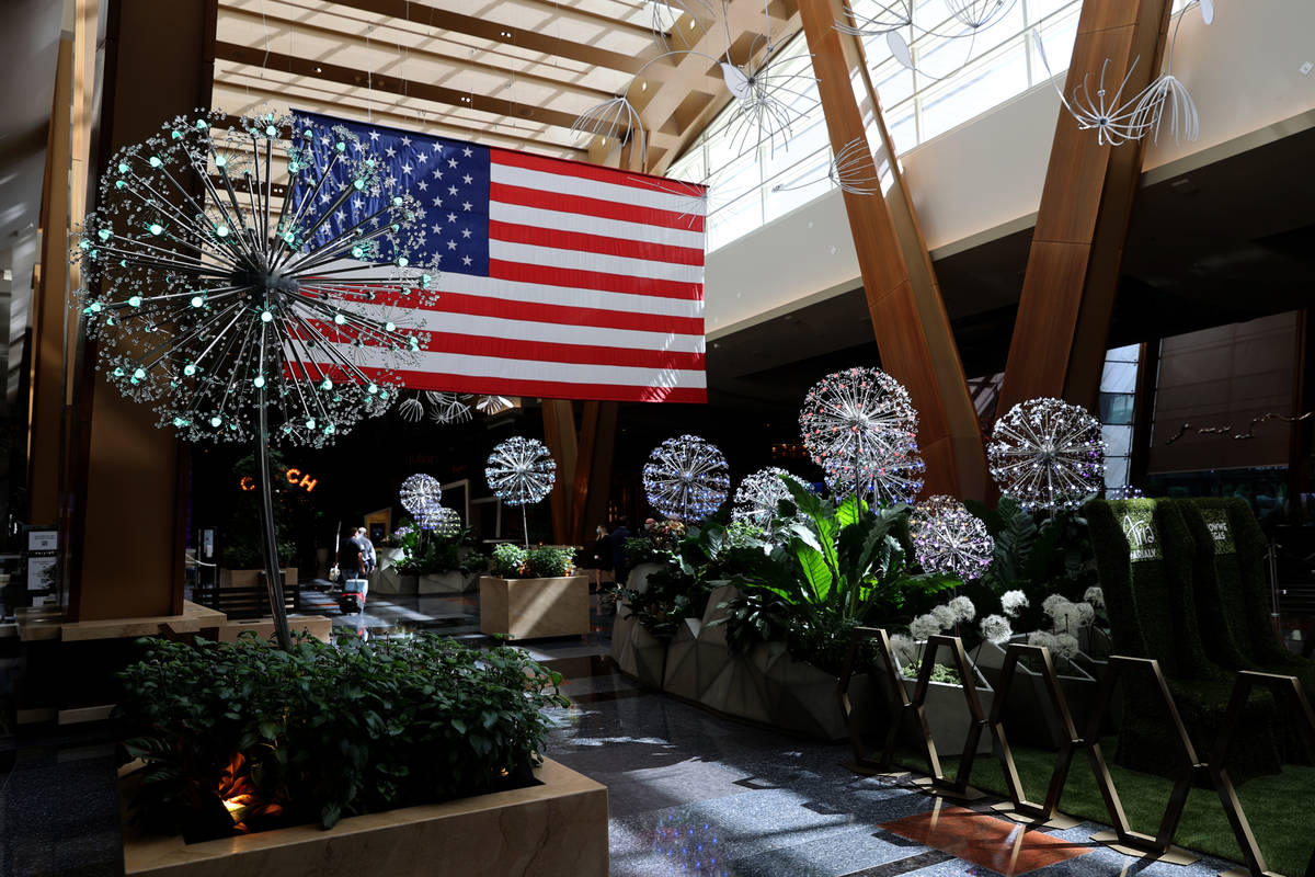 """The summer lobby display """"Dandelion Forest"""" at Aria on the Strip in Las Vegas before reopen ..."""