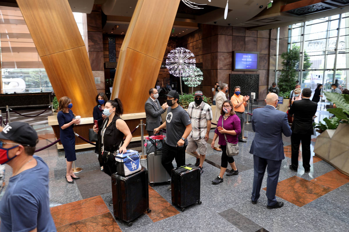 Aria guests upon reopening the Strip resort in Las Vegas Wednesday, July 1, 2020. (K.M. Cannon/ ...