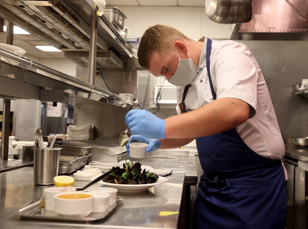 Bardot Brasserie Executive Chef Nick Dugan makes Steamed Mussels with Chorizo and Saffron at Ar ...