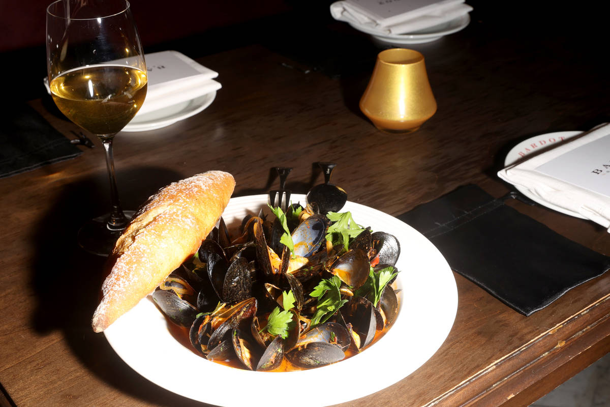 Steamed Mussels with Chorizo and Saffron at Aria on the Strip in Las Vegas upon reopening Wedne ...