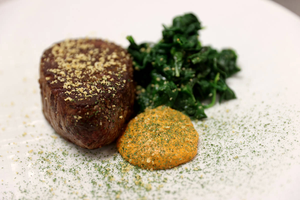 Grilled Filet Mignon with Spinach, Basil and Sriracha Butter at Aria on the Strip in Las Vegas ...