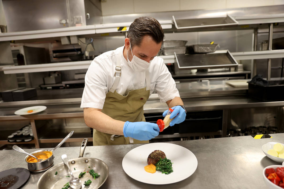 Jean Georges Steakhouse Executive Chef Chef Sean Griffin makes Grilled Filet Mignon with Spinac ...