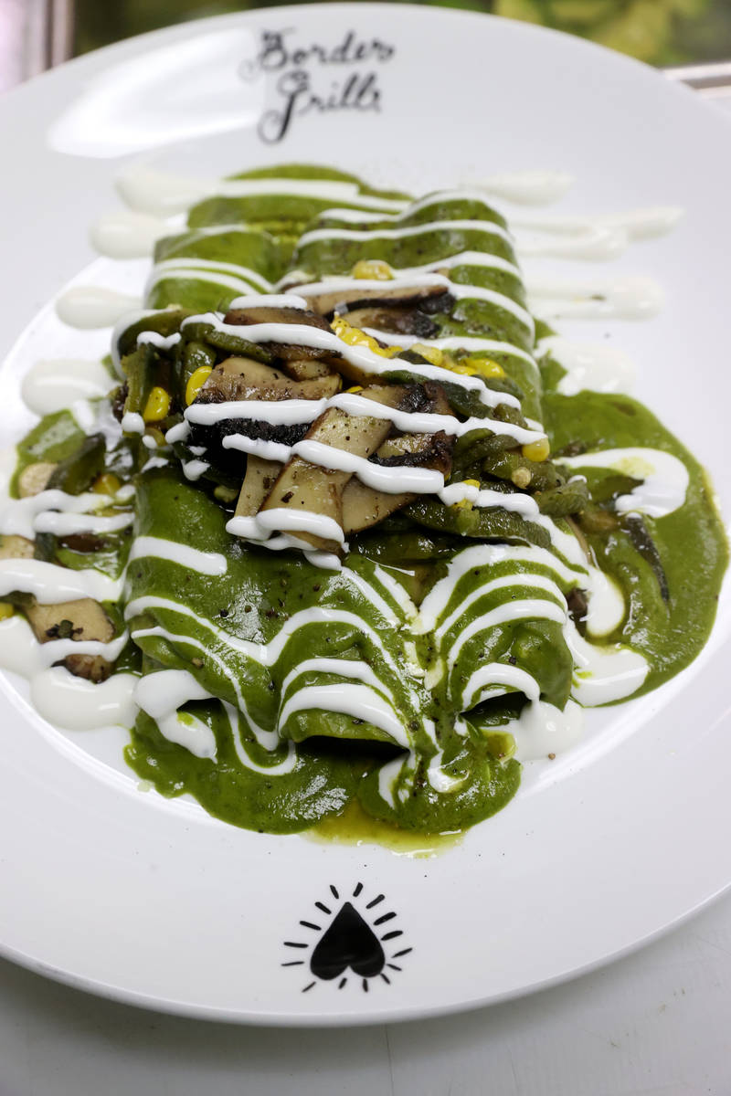 Chicken Poblano Enchiladas at Border Grill at Mandalay Bay on the Strip in Las Vegas upon reope ...