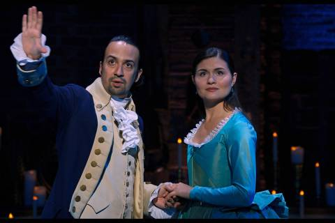 "Lin-Manuel Miranda and Phillipa Soo star in ""Hamilton,"" debuting July 3 on Disney+. (Disney+)"