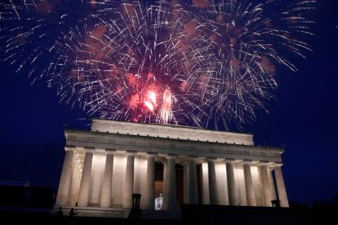 FILE - In this July 4, 2019 file photo, fireworks go off over the Lincoln Memorial in Washingto ...