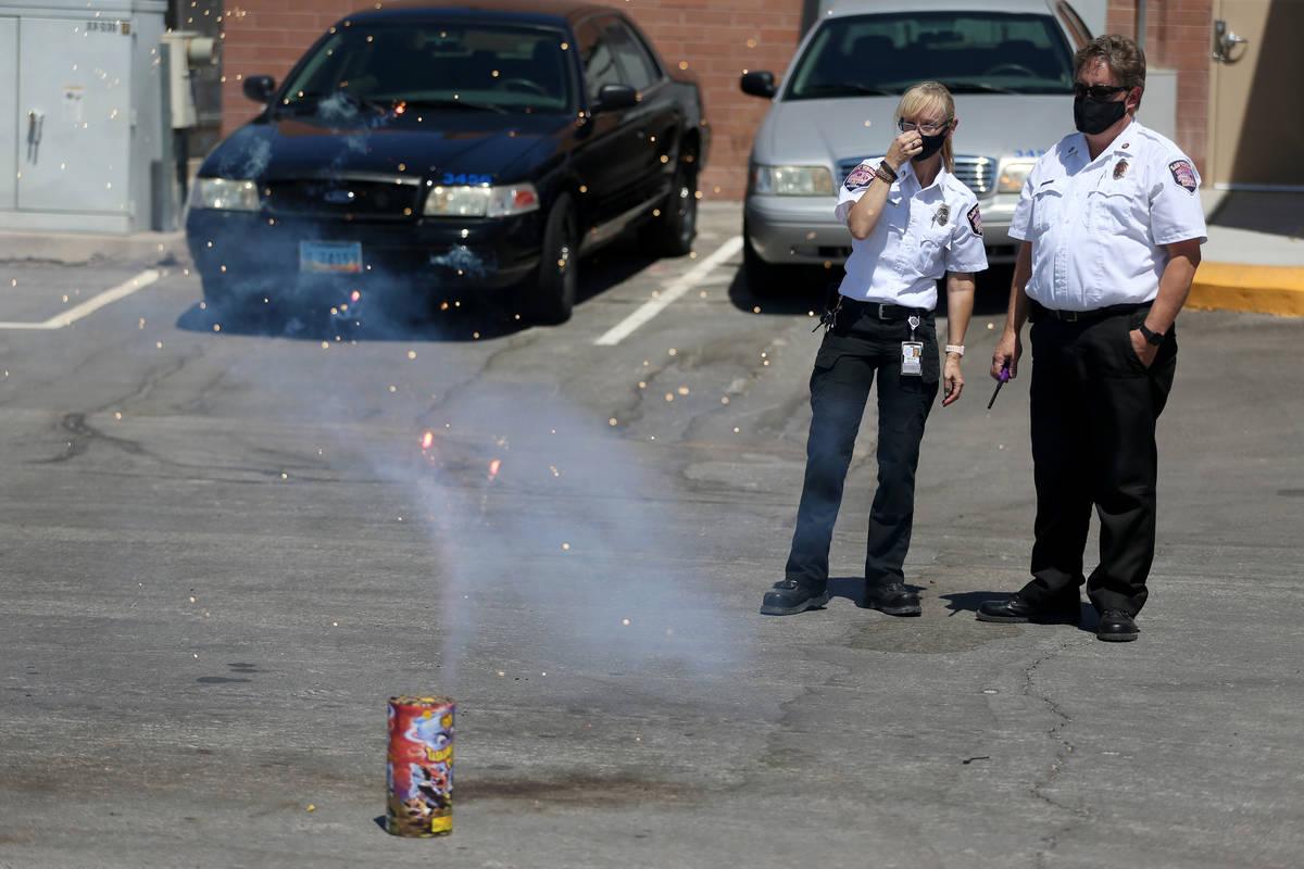 Las Vegas Fire and Rescue's fire inspector Melanie Dennon, left, and fire inspector Scott Thomp ...