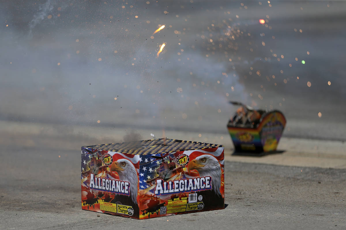 Legal fireworks are set off during a demonstration at the Las Vegas Fire Rescue Training Center ...