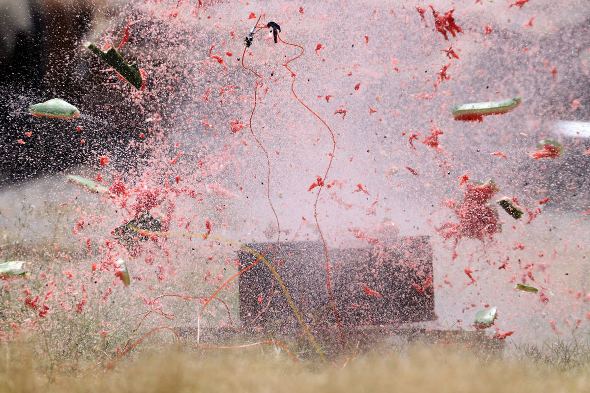 A watermelon blows off during demonstration of illegal fireworks at the Las Vegas Fire Rescue T ...