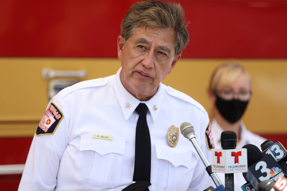 Las Vegas Fire and RescueDeputy Fire Chief Robert Nolan speaks during a press conference on fir ...
