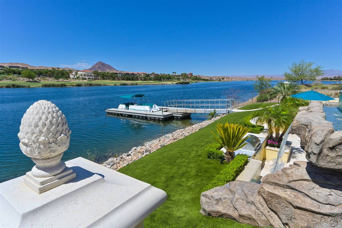 Luxurious Real Estate The Lake Las Vegas mansion has its own boat dock.