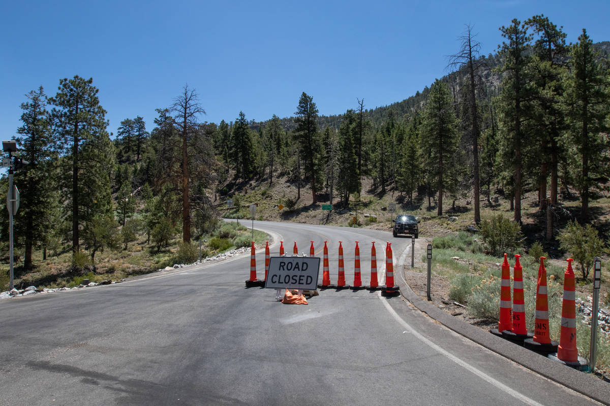 Deer Creek Road off of Lee Canyon Road is closed due to the Mahogany Fire in Las Vegas on Thurs ...