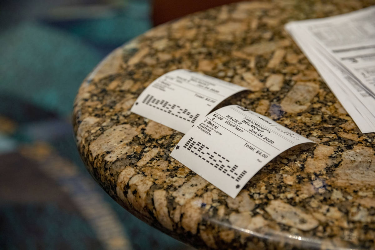 Used betting sleeps are seen during the reopening of the Bellagio sportsbook, Thursday, June 4, ...