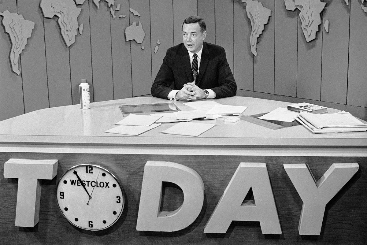 """FILE - In this March 10, 1966 file photo, Hugh Downs hosts the """"Today""""show on NBC. D ..."""