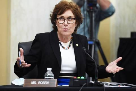 Sen. Jacky Rosen, D-Nev., speaks during a Senate Small Business and Entrepreneurship hearing to ...