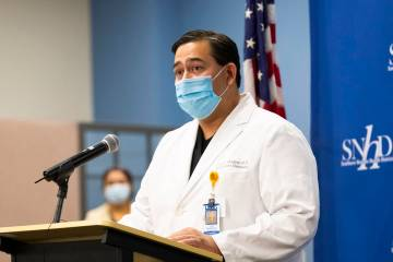 In this May 13, 2020, file photo, Dr. Luis Medina-Garcia, University Medical Center infectious ...