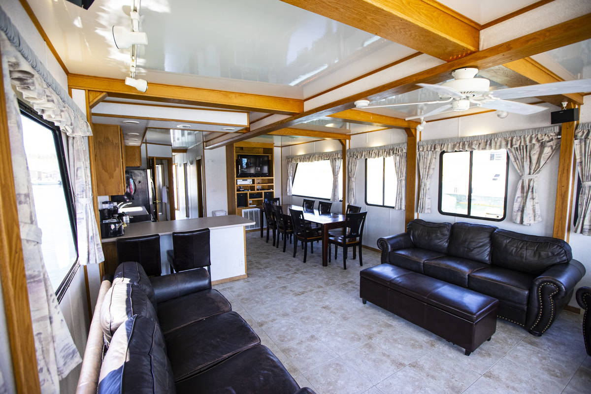 A living and dining area at a houseboat available for rent at the Callville Bay Marina at Lake ...