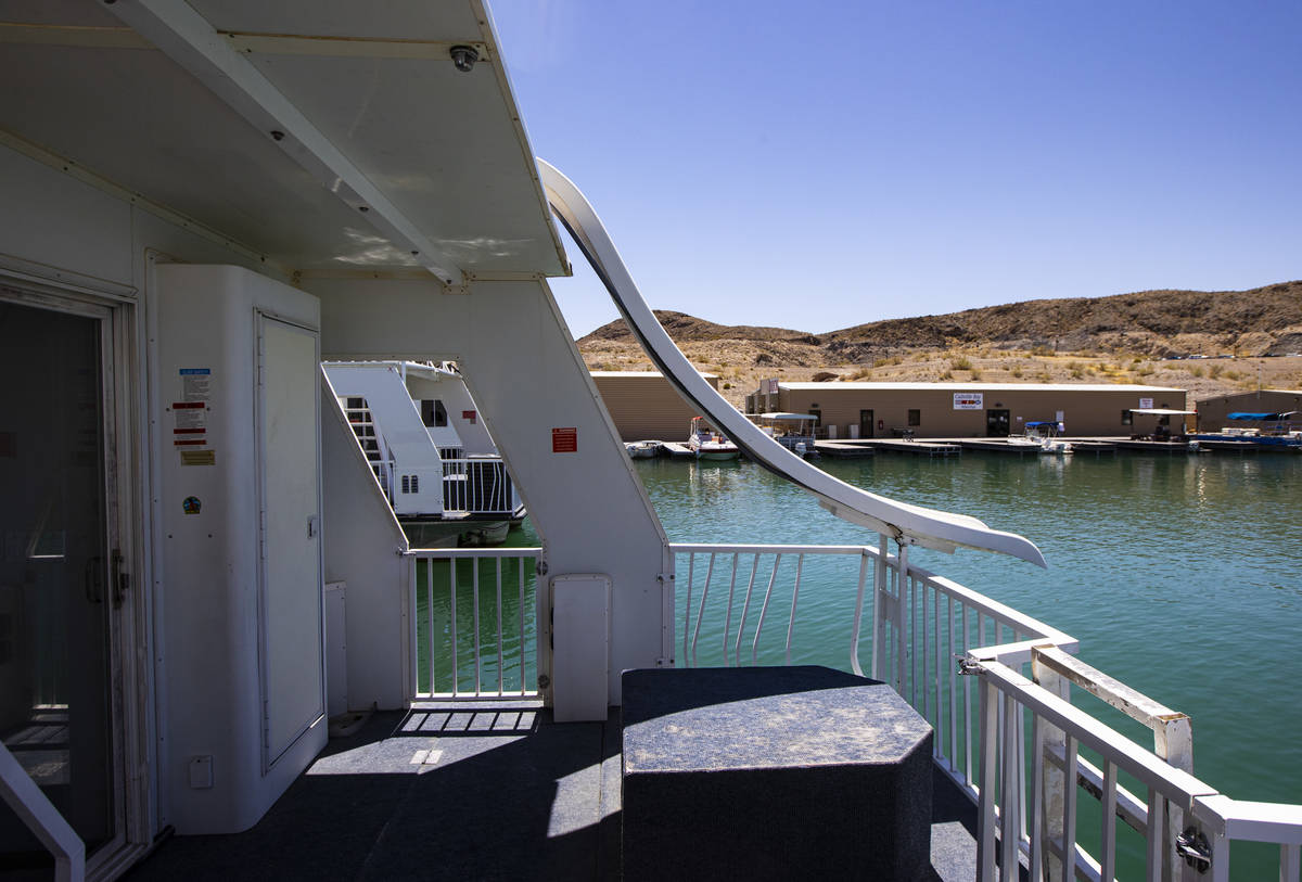 A slide on a houseboat at the Callville Bay Marina at Lake Mead National Recreation Area on Wed ...