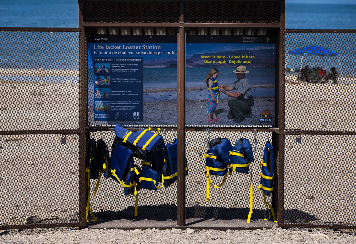 Life jackets available for use at Boulder Beach at Lake Mead National Recreation Area on Wednes ...