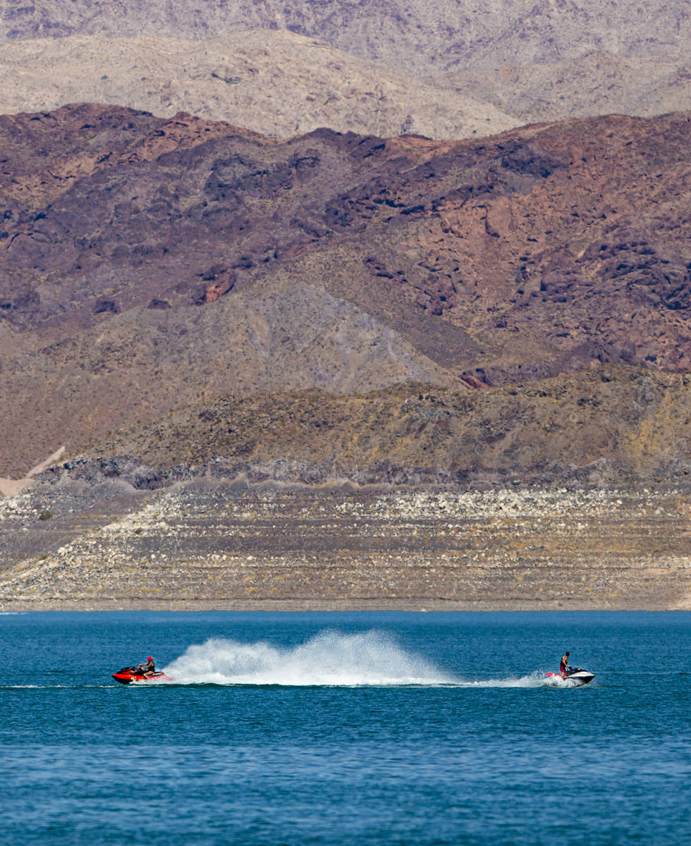 People use personal watercrafts near Boulder Beach at Lake Mead National Recreation Area on Wed ...