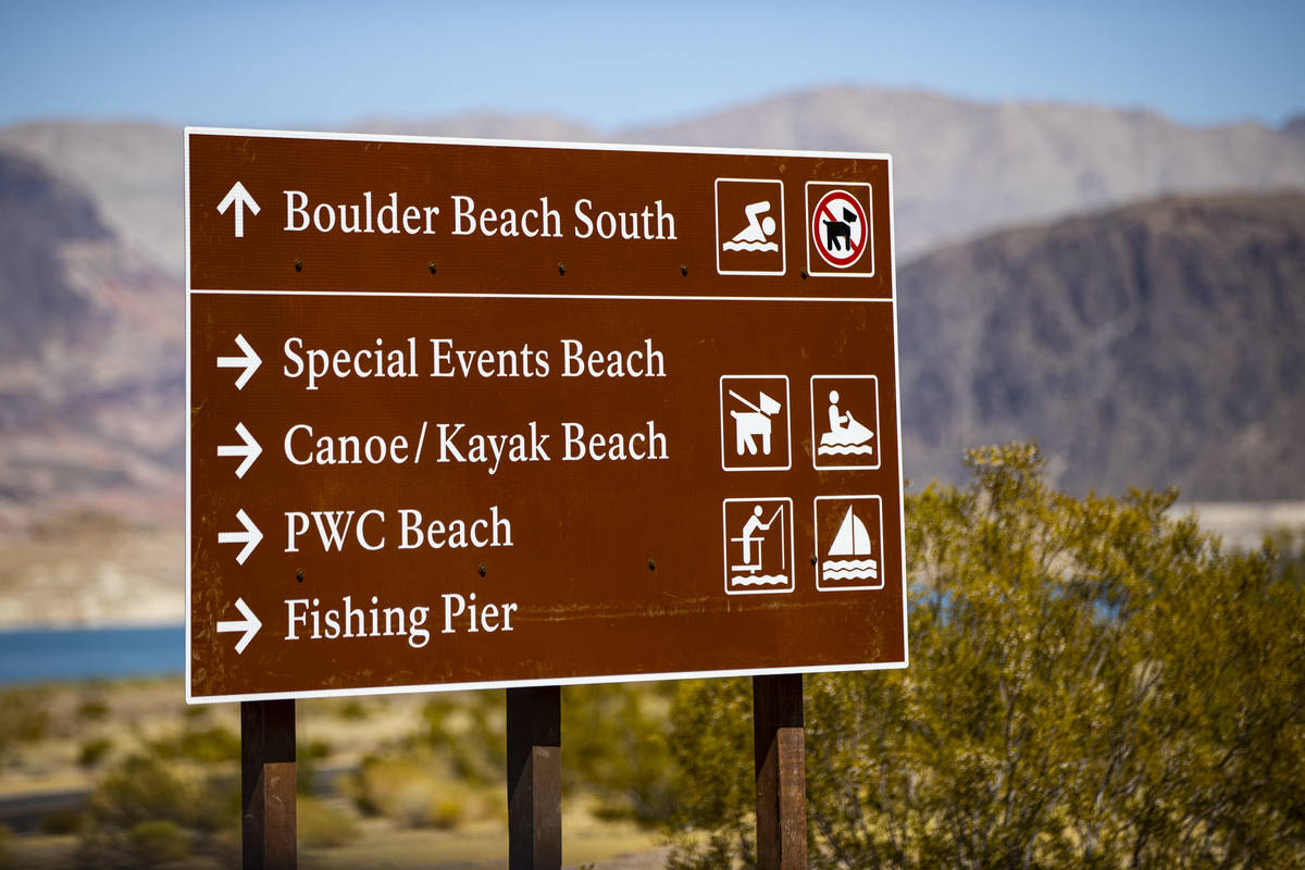 A sign for Boulder Beach at Lake Mead National Recreation Area on Wednesday, July 29, 2020. (Ch ...