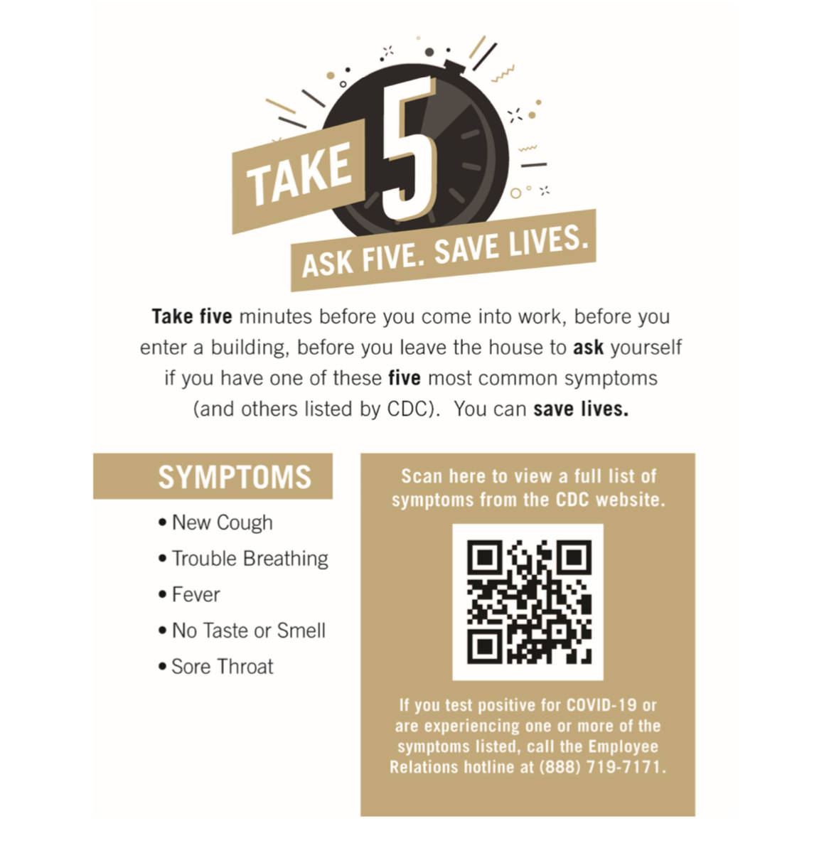 """A poster outlining MGM Resort International's """"Take 5"""" campaign. (courtesy)"""