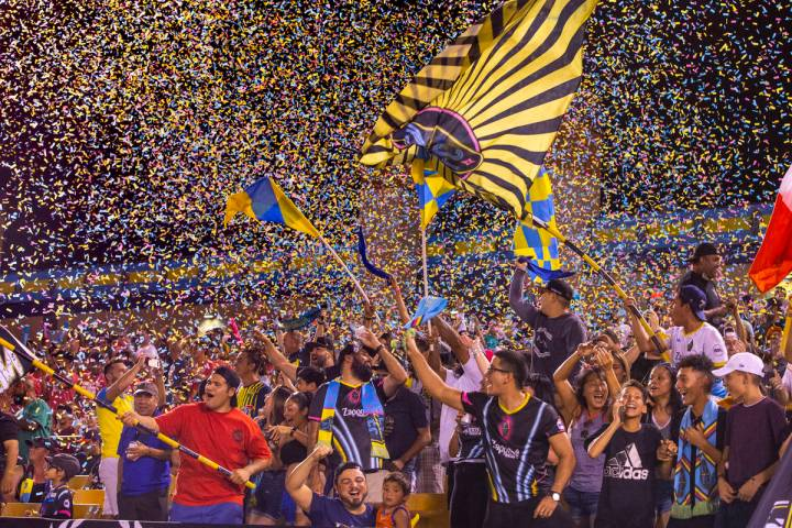 Las Vegas Lights FC fans are bathed in confetti as the team scores over the Portland Timbers 2 ...
