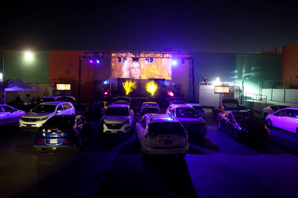 """Guests watch the pre-show before Jennifer Romas' """"Sexxy The Show"""" at Dreamland Drive-In at Fres ..."""