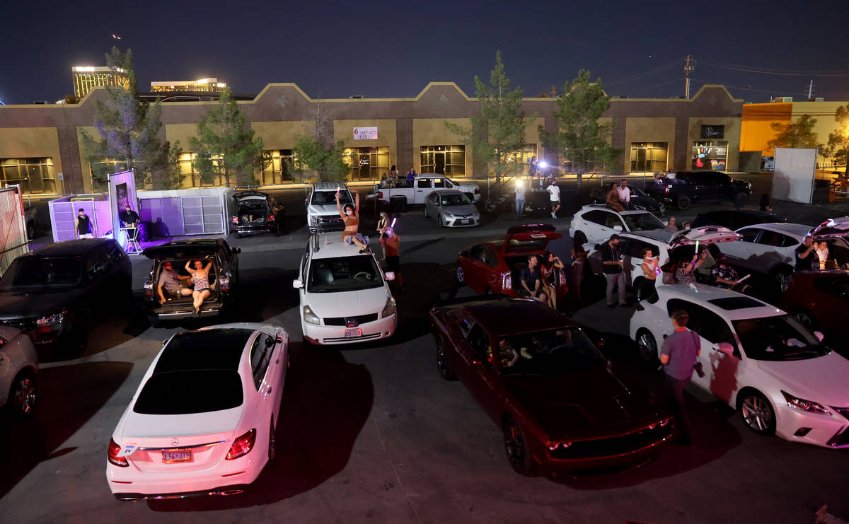 """Guests watch Jennifer Romas' ÒSexxy The Show"""" at Dreamland Drive-In at FreshWata Stud ..."""