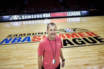 NBA Summer League co-organizer Albert Hall stands at center court in the Thomas and Mack Cente ...