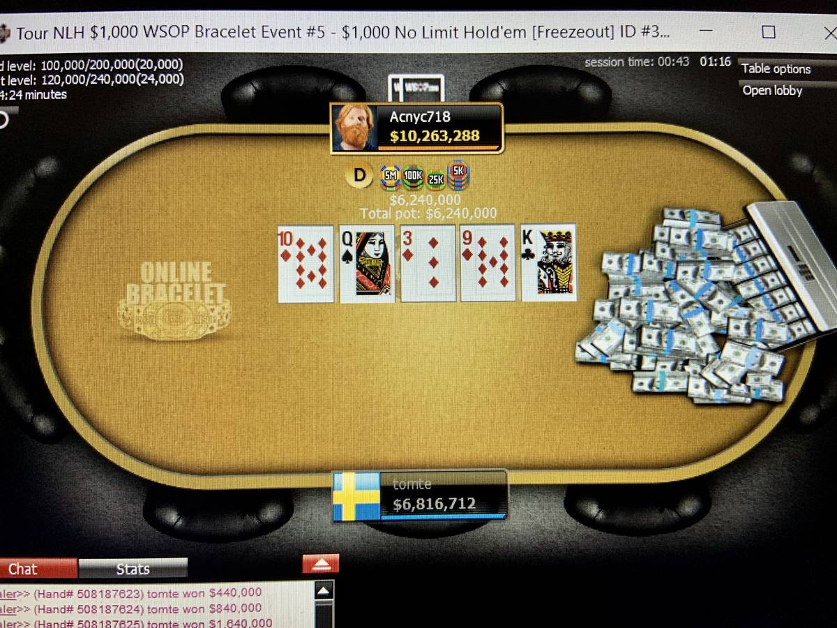 Allen Chang (Acnyc718) battles Philip Yeh (tomte) heads-up in Event 5 of the World Series of Po ...