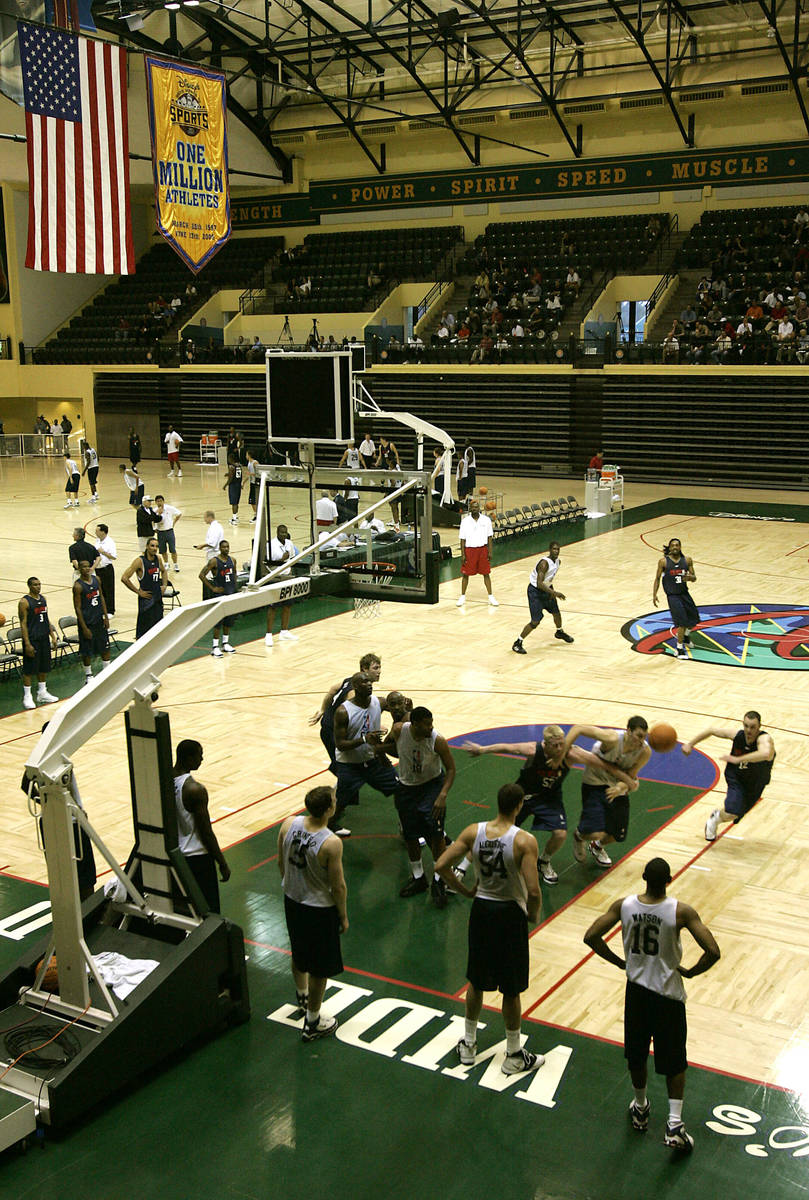 College players scrimmage during an NBA pre-draft basketball camp at the Disney Wide World of S ...