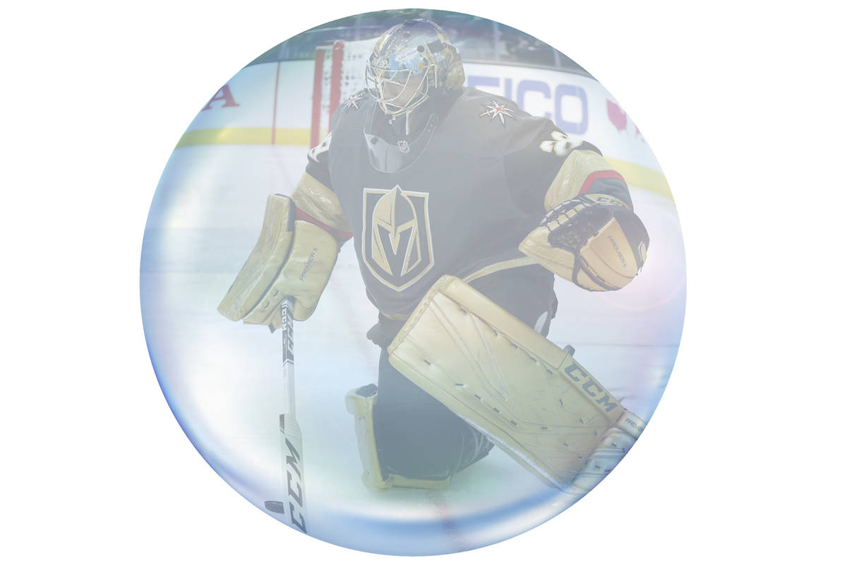 Vegas Golden Knights goaltender Marc-Andre Fleury (29) plays against the Los Angeles Kings duri ...