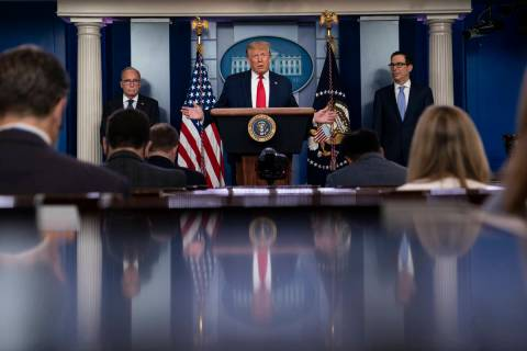 President Donald Trump speaks during a news briefing at the White House, Thursday, July 2, 2020 ...