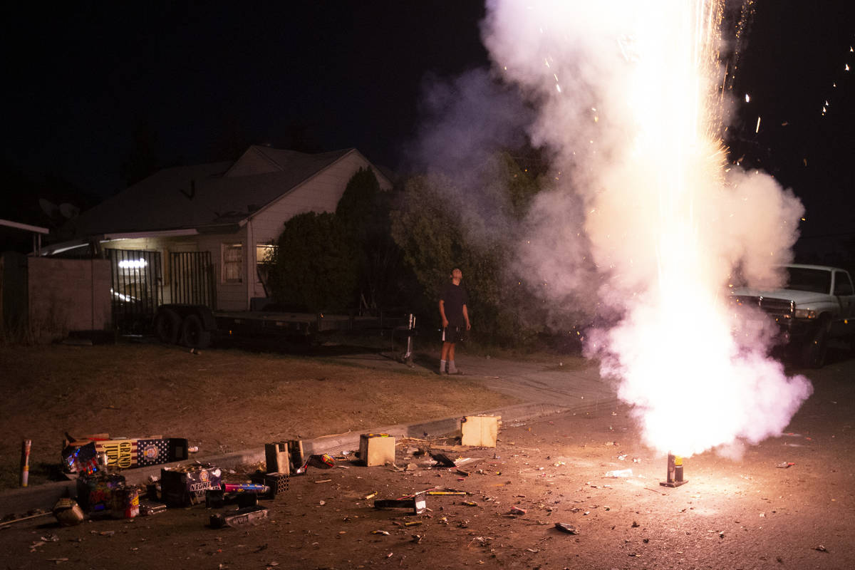 A group sets off illegal fireworks on their street to celebrate Independence Day on Saturday, J ...