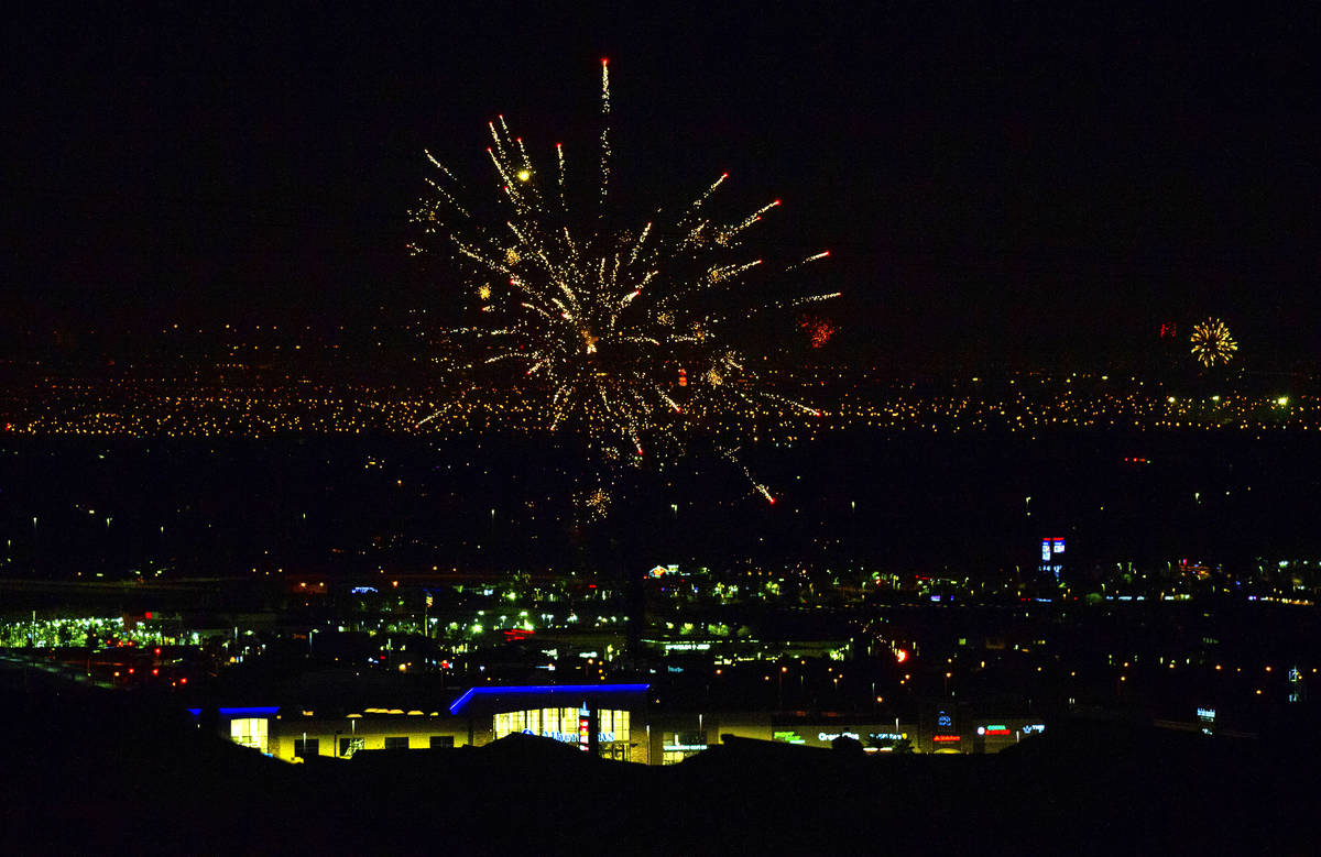 Illegal fireworks are set off late into the night throughout Clark County on Saturday, July 4, ...