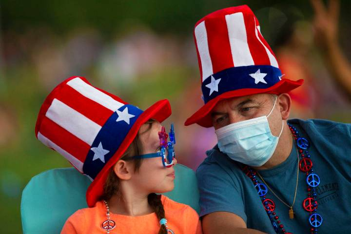 Patrick Sancristobal, right, and daughter Isabella, wait for the start of the Red Rock Casino f ...