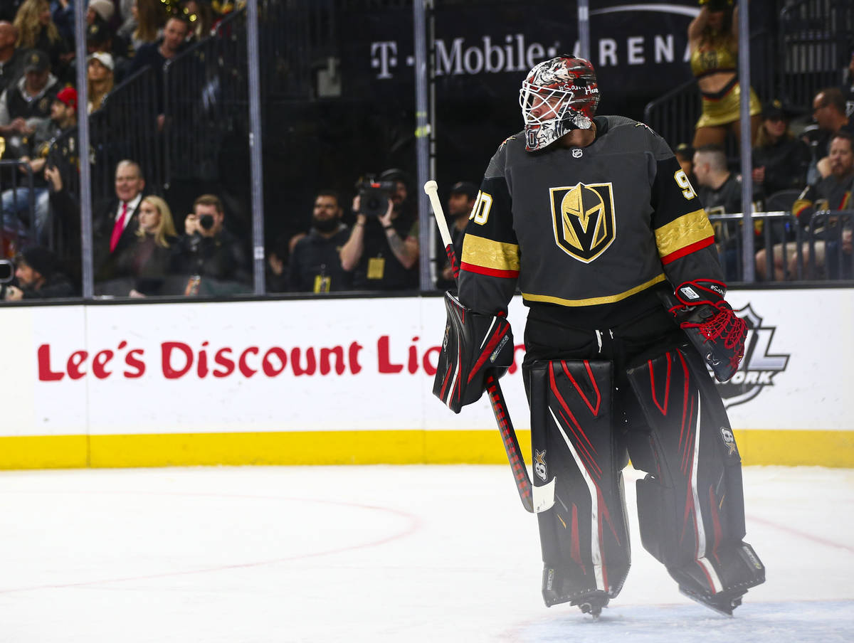Golden Knights goaltender Robin Lehner (90) looks on during the second period of an NHL hockey ...