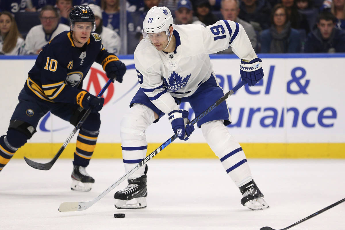 FILE - In this Sunday, Feb. 16, 2020 file photo, Toronto Maple Leafs forward Jason Spezza (19) ...