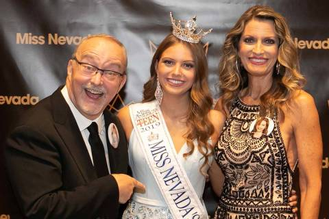 Myron Martin, Molly Martin and Dana Martin after Molly was crowned Miss Nevada Outstanding Teen ...