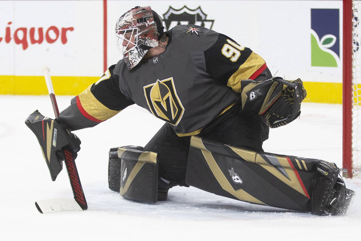 Vegas Golden Knights goaltender Robin Lehner (90) makes a save in the second period during an N ...