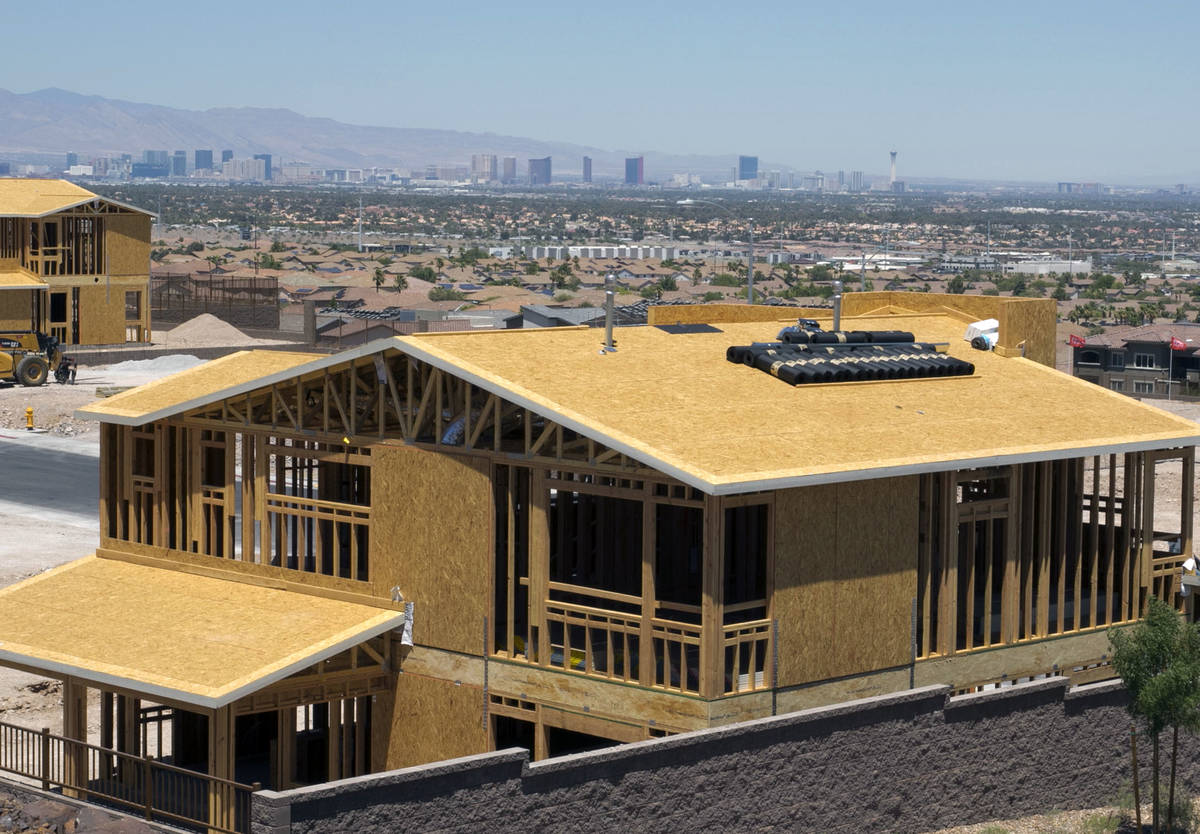 Homes under construction in the McCullough Hills master-planned community in Henderson, Tuesday ...