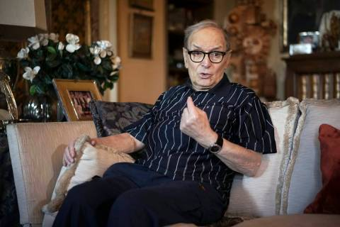 FILE - In this May 31, 2016 file photo, three-time best sound-track Oscar winner Ennio Morricon ...