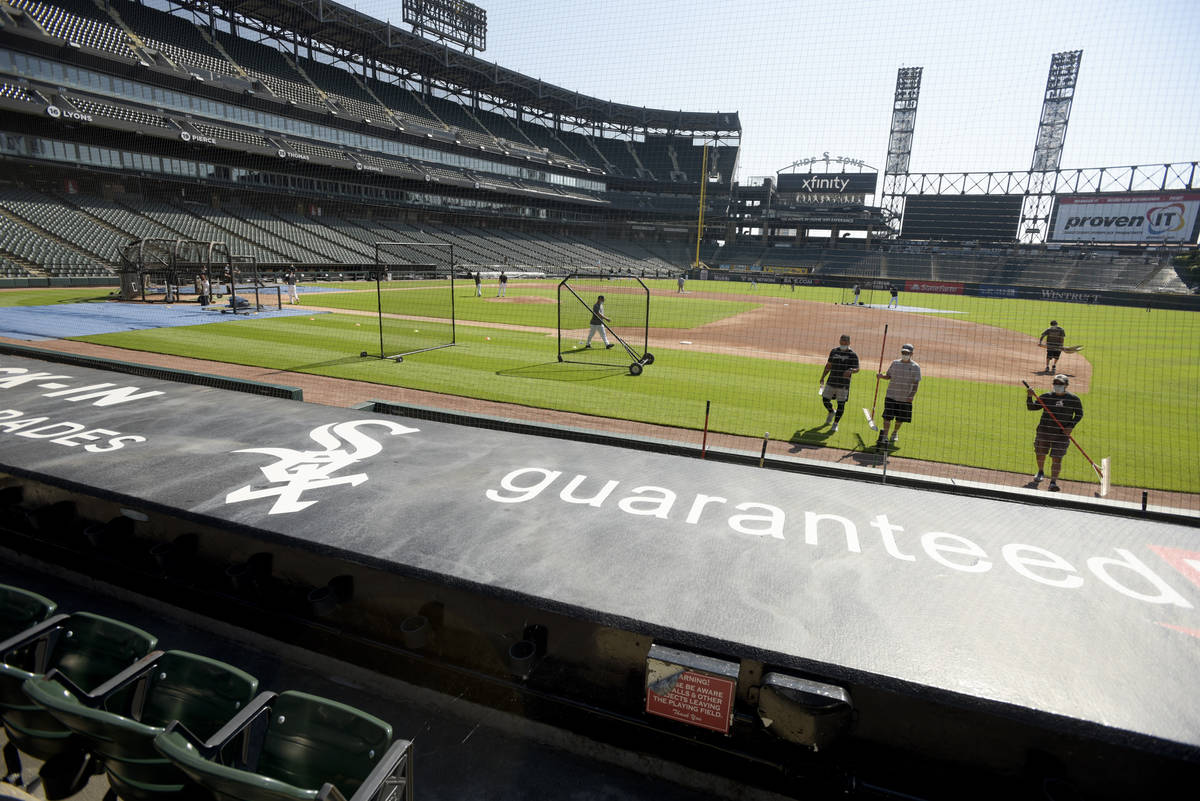 The Chicago White Sox practice at Guaranteed Rate Field, Sunday, July 5, 2020, in Chicago. (AP ...