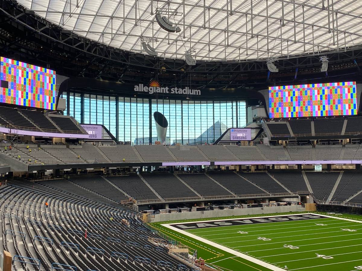 Crews test out various video boards inside Allegiant Stadium on June 23, 2020. (Courtesy Las Ve ...