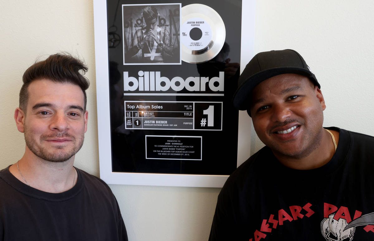 """Jimmy """"Jimmy G"""" Giannos, left, and Dominic """"DJ"""" Jordan of The Audibles at r ..."""