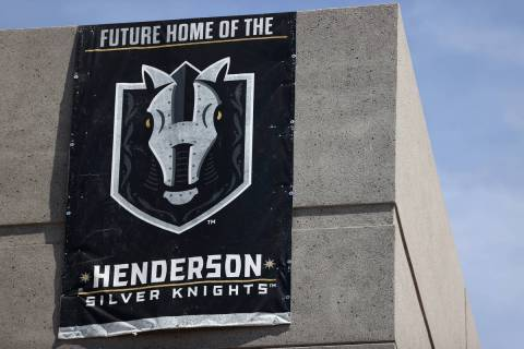 A Henderson Silver Knights banner hangs at Lifeguard Arena in Henderson during a tour, Friday, ...