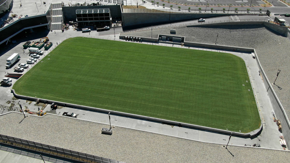 Aerial view of the 4-feet-deep, 9,500-ton natural grass field tray that the Raiders will play o ...