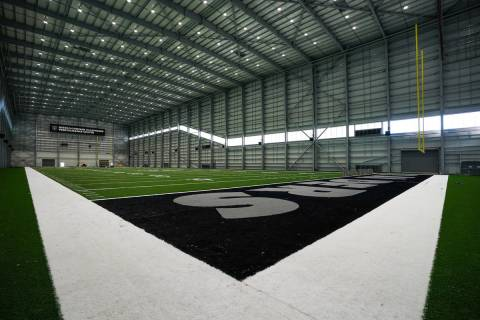 The field house at the Raiders' Intermountain Healthcare Performance Center has a 110-foot high ...