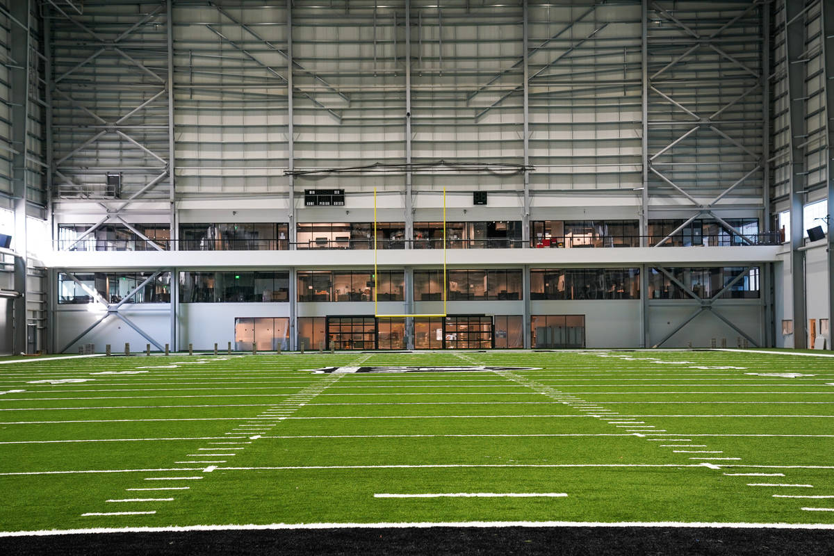 The indoor field house at the Raiders' Intermountain Healthcare Performance Center in Henderson ...