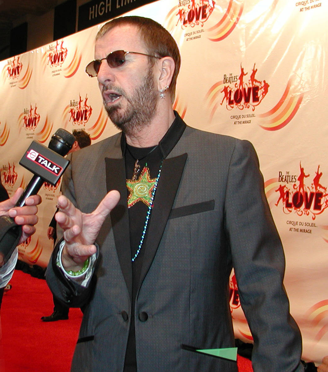 """Ringo Starr is being interviewed arrives at the gala premiere of """"The Beatles LOVE by Cirque du ..."""